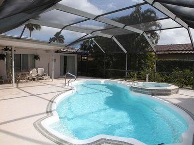 32 ft Pool and spa. Lots of space to relax, sunbathe and dine.