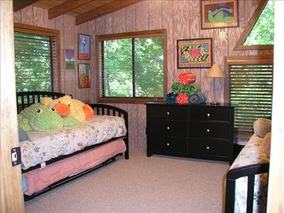 Upstairs Bedroom Has Two Day Beds, and a Trundle Bed.  This Room Sleeps 3.