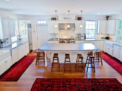 Vineyard Haven house rental - Fully-Equipped Chef's Kitichen Features Marble Countertops & Prep Island/Breakfast Bar With Seating For 8. First Floor