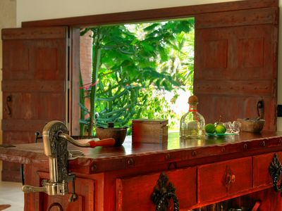 custom built faux antique bar
