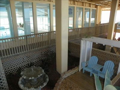 Sitting area at Beach access, next to Indoor pool