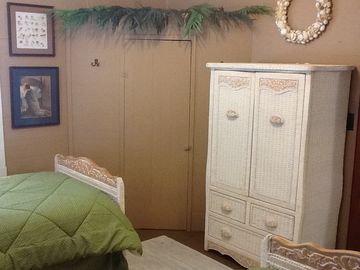 "Tikki Corner Closet in 2nd ""Over the Moon"" Upstairs Bedroom."