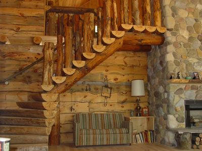 Crystal Mountain, Thompsonville lodge rental - Split log staircase to the loft