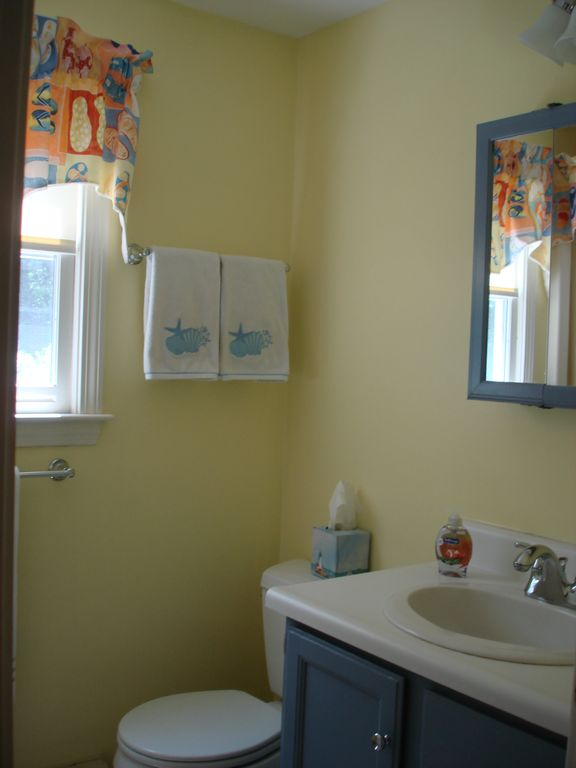 Main floor full bath in casual beach motif.