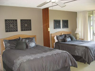 Bedroom showing 2 Queen size beds and folding Divider
