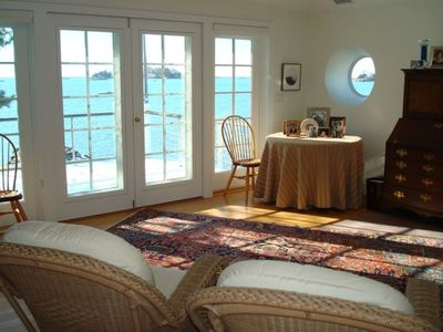 Upstairs Sitting Room with Deck overlooking Long Island Sound