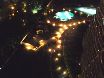 Lit grounds, pools and walkway at BVG Marina