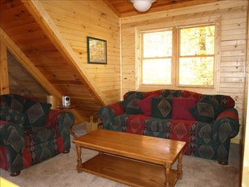 Sitting Area on Top Level of Cabin with sleeper sofa