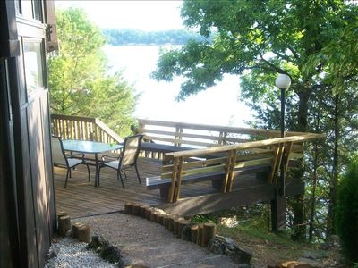 Middle deck right off water great veiw of lake/plenty of tables/chairs