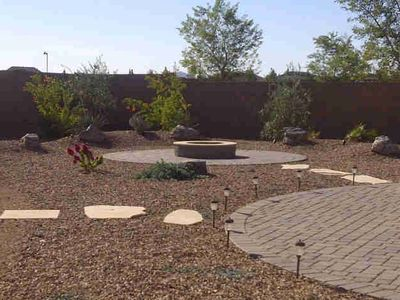 newly landscaped fire pit and seating area