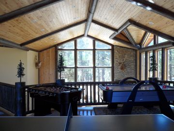 Big Bear City estate rental - Bonus Room with foosball, ping pong , air hockey,looking right through glass...