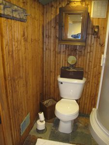 Bathroom with pine beadboard.