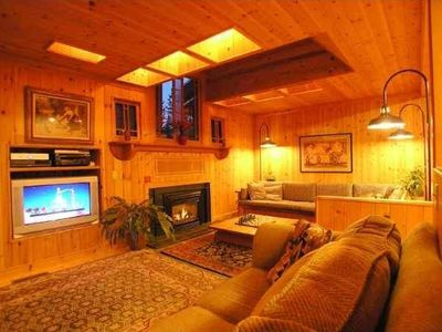 Features fireplace and wide screen satellite HDTV