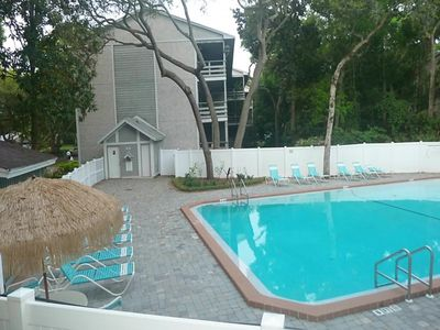 Large private pool has bathroom, misters for hot days, and is cleaned daily.