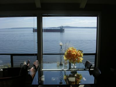 Upper Level Unit: Dining table gives you a front row seat to Puget Sound boating