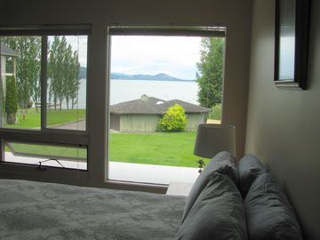 The lake view from the master bedroom.