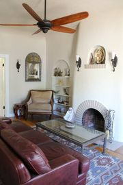 Tucson bungalow rental - Graceful Arches, Coved ceilings and world furnishings in cozy living room