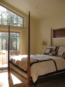 Upstairs queen bedroom with deck & beautiful views