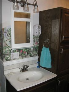 Master bath has wall mounted hair dryer