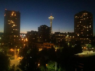 Space Needle from Living Room. 10:18pm on a lovely Seattle summer eve.