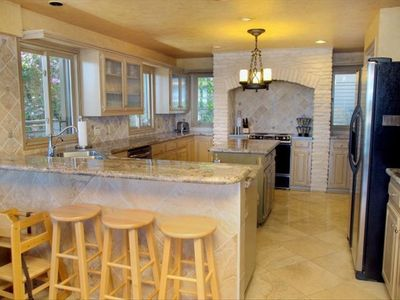 Chef's Dream Kitchen has Beautiful Granite and Stone Accents & Island