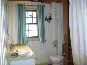 The down stairs full bath w/shower and jetted tub. .