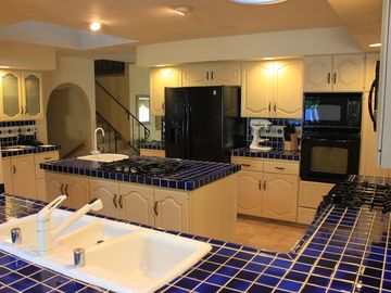 West Coast Villa Cobalt Blue Tile. Huge kitchen
