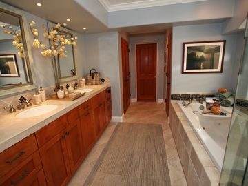 Master Bathroom His / Her Sinks, Closet, and Private Water Closet (Toilet).
