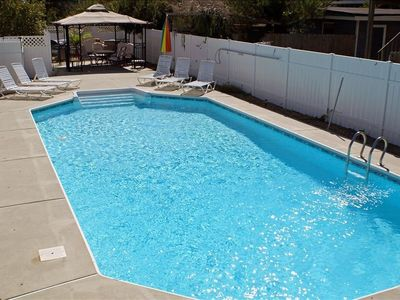 16 x 36 ft pool - can be solar heated - poolside dining under gazebo