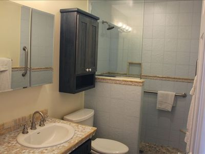 Bathroom with step-in shower