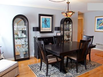 Dining Room table expands to seat 8 +. Great reading area by front windows.