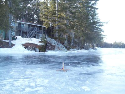 Ice Fish right in front of the lodge!