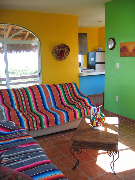 Living area in bright colorful Mexican colors