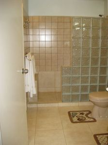 Large bathroom with brand new walk-in shower