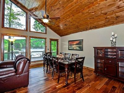 Large dining room with seating for 8.  Dine with a view of the lake!