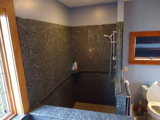 Westport Island house photo - Master bath with walk-in granite shower with duel shower heads - one hand held