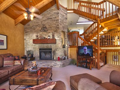 Family Room w/ Flat Screen TV & Wood Burning Fireplace. Pinnacle Deer Valley