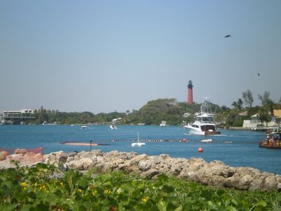 This is view from Dubois Park looking over the Inlet to the Jupiter Lighthouse.