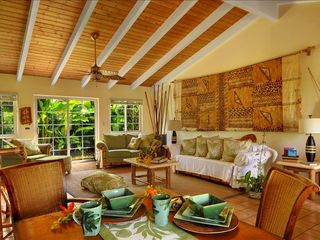Poipu house photo - Open, Light and Airy, Great Room extends also to courtyard with pond.