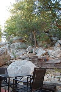 Back Deck surrounded by boulders, complete privacy.