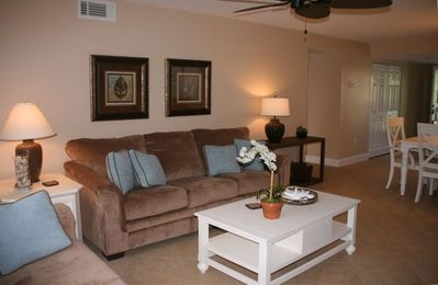 Spacious living area, with TV/DVD player