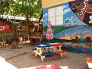 Our awesome Austin-themed backyard for bbqs and parties.
