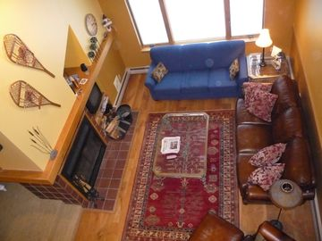 Looking down at Living Room from the loft