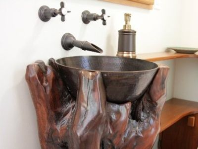 Unique Redwood Burl and Brass Sink in the Bathroom you'll always remember