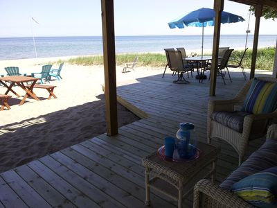 Beautiful Updated Sandy Lake Huron Beach House with A/C - waves & sunrise in bed