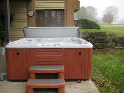 Outdoor Hot Tub w/a great view of the starry sky at night.  It's our fav spot!