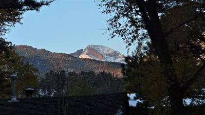 Long's Peak as seen from River Song cabin's deck.