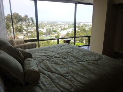 Master bedroom with a view of the City