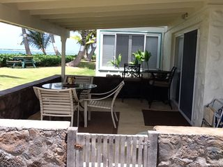 Hauula condo photo - Lanai (patio) in front of the main living area.