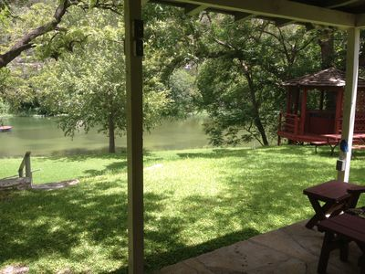 View from Main House porch, on hilltop, of Guadalupe River